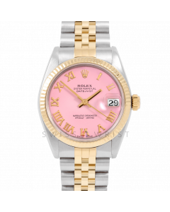 Rolex Datejust 31 6827 Midsize Yellow Gold & Steel, Pink Roman Dial, Fluted Bezel on a Jubilee Bracelet - Ladies Pre-Owned Non-Quickset Watch