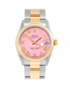 Rolex Datejust 31 6827 Midsize Yellow Gold & Steel, Pink Roman Dial, Fluted Bezel On Oyster Bracelet, Ladies Pre-Owned Watch
