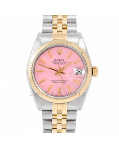 Rolex Datejust 31 6827 Midsize Yellow Gold & Steel, Pink Stick Dial, Fluted Bezel on a Jubilee Bracelet - Ladies Pre-Owned Non-Quickset Watch
