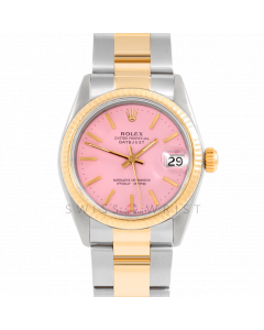 Rolex Datejust 31 6827 Midsize Yellow Gold & Steel, Pink Stick Dial, Fluted Bezel on an Oyster Bracelet - Ladies Pre-Owned Non-Quickset Watch