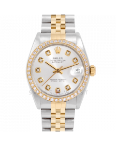 Rolex Datejust 31 6800 Midsize Yellow Gold & Steel, Custom Silver Diamond Dial, 1ct Diamond Bezel On Jubilee Bracelet, Ladies Pre-Owned Watch