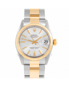 Rolex Datejust 31 6827 Midsize Yellow Gold & Steel, Silver Stick Dial, Fluted Bezel On Oyster Bracelet, Ladies Pre-Owned Watch