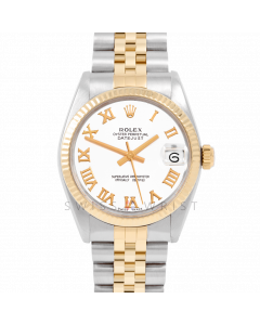 Rolex Datejust 31 6827 Midsize Yellow Gold & Steel, White Roman Dial, Fluted Bezel On Jubilee Bracelet, Ladies Pre-Owned Watch