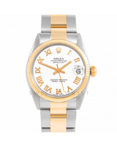Rolex Datejust 31 6827 Midsize Yellow Gold & Steel, White Roman Dial, Fluted Bezel On Oyster Bracelet, Ladies Pre-Owned Watch