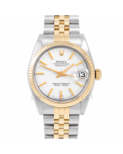 Rolex Datejust 31 6827 Yellow Gold & Steel, White Stick Dial, Fluted Bezel On Jubilee Bracelet, Ladies Pre-Owned Watch