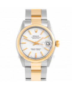Rolex Datejust 31 6827 Midsize Yellow Gold & Steel, White Stick Dial, Fluted Bezel On Oyster Bracelet, Ladies Pre-Owned Watch