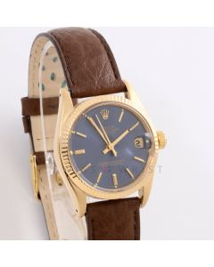 Rolex 6827 Ladies Datejust 31mm Yellow Gold w/ Blue Stick Dial and Fluted Bezel with Brown Leather Band - Pre-Owned