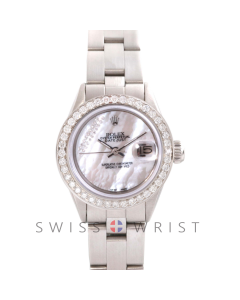 Rolex Datejust 6917 Custom Mother Of Pearl Gift Wrap Diamond Dial - Stainless Steel - Diamond Bezel On An Oyster Band - Pre-Owned