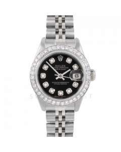 Rolex Datejust 26 6917 Stainless Steel, Custom Black Diamond, 1ct Diamond Bezel On A Jubilee Bracelet - Ladies Pre-Owned Watch