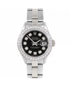 Rolex Datejust 26 6917 Stainless Steel, Custom Black Diamond, 1ct Diamond Bezel On An Oyster Bracelet - Ladies Pre-Owned Watch