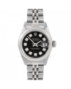 Rolex Datejust 6917 Custom Black Diamond Dial - Stainless Steel - White Gold Fluted Bezel On A Jubilee Band - Pre-Owned