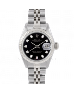 Rolex Datejust 6917 Factory Black Diamond Dial - Stainless Steel - White Gold Fluted Bezel On A Jubilee Band - Pre-Owned