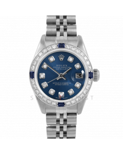 Rolex Datejust 26 6917 Stainless Steel, Custom Blue Diamond, Diamond & Sapphire Bezel On A Jubilee Bracelet - Ladies Pre-Owned Watch