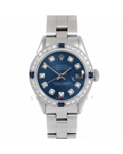 Rolex Datejust 26 6917 Stainless Steel, Custom Blue Diamond, Diamond & Sapphire Bezel On An Oyster Bracelet - Ladies Pre-Owned Watch