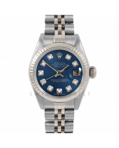 Rolex Datejust 26 6917 White Gold & Stainless Steel, Custom Blue Diamond, Fluted Bezel On A Jubilee Bracelet - Ladies Pre-Owned Watch