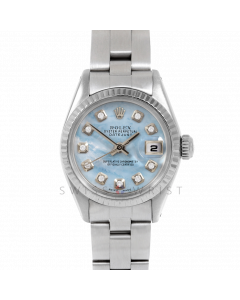 Rolex Datejust 26 6917 White Gold & Steel, Custom Blue Mother of Pearl Diamond, Fluted Bezel On An Oyster Bracelet - Ladies Pre-Owned Watch
