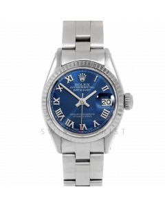Rolex Datejust 26 6917 White Gold & Stainless Steel, Blue Roman, Fluted Bezel On An Oyster Bracelet - Ladies Pre-Owned Watch