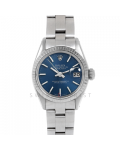 Rolex Datejust 26 6917 White Gold & Stainless Steel, Blue Stick, Fluted Bezel On An Oyster Bracelet - Ladies Pre-Owned Watch