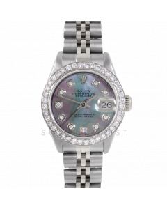Rolex Datejust 26 6917 Stainless Steel, Custom Black Mother of Pearl Diamond, 1ct Diamond Bezel On A Jubilee Bracelet - Ladies Pre-Owned Watch