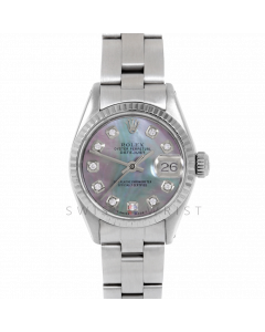 Rolex Datejust 26 6917 Stainless Steel, Custom Black Mother of Pearl Diamond, Fluted Bezel On An Oyster Bracelet - Ladies Pre-Owned Watch