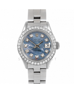 Rolex Datejust 26 6917 Stainless Steel, Custom Blue Mother of Pearl Diamond, 1ct Diamond Bezel On An Oyster Bracelet - Ladies Pre-Owned Watch