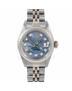 Rolex Datejust 26 6917 Gold & Steel, Custom Blue Mother of Pearl Diamond, Fluted Bezel On A Jubilee Bracelet - Ladies Pre-Owned Watch