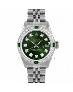Rolex Datejust 26 6917 Stainless Steel, Custom Green Diamond, Diamond & Emerald Bezel On A Jubilee Bracelet - Ladies Pre-Owned Watch