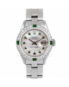 Rolex Datejust 26 6917 Stainless Steel, Custom Mother of Pearl Emerald Dial, Diamond & Emerald Bezel On A Oyster Bracelet - Ladies Pre-Owned Watch