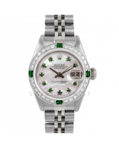 Rolex Datejust 26 6917 Stainless Steel, Custom Mother of Pearl Emerald Dial, Diamond & Emerald Bezel On A Jubilee Bracelet - Ladies Pre-Owned Watch