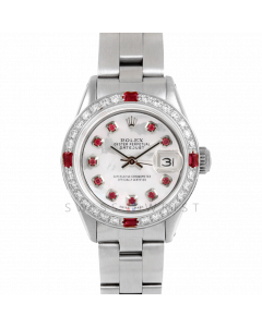 Rolex Datejust 26 6917 Stainless Steel, Custom Mother of Pearl Ruby Dial, Diamond & Ruby Bezel On A Oyster Bracelet - Ladies Pre-Owned Watch