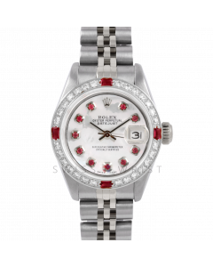 Rolex Datejust 26 6917 Stainless Steel, Custom Mother of Pearl Ruby Dial, Diamond & Ruby Bezel On A Jubilee Bracelet - Ladies Pre-Owned Watch