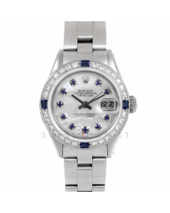 Rolex Datejust 26 6917 Stainless Steel, Custom Mother of Pearl Sapphire Dial, Diamond & Sapphire Bezel On A Oyster Bracelet - Ladies Pre-Owned Watch