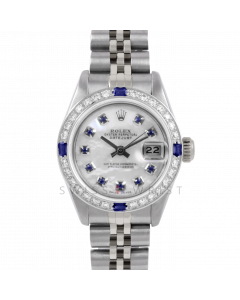 Rolex Datejust 26 6917 Stainless Steel, Custom Mother of Pearl Sapphire Dial, Diamond & Sapphire Bezel On A Jubilee Bracelet - Ladies Pre-Owned Watch