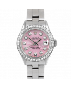 Rolex Datejust 26 6917 Stainless Steel, Custom Pink Mother of Pearl Diamond, 1ct Diamond Bezel On An Oyster Bracelet - Ladies Pre-Owned Watch
