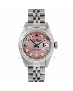 Rolex Datejust 26 6917 Custom Pink Mother of Pearl Diamond Dial - Stainless Steel - White Gold Fluted Bezel On A Jubilee Band - Ladies Pre-Owned Watch