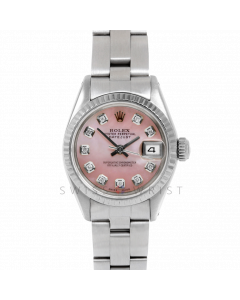 Rolex Datejust 26 6917 White Gold & Steel, Custom Pink Mother of Pearl Diamond, Fluted Bezel On An Oyster Bracelet - Ladies Pre-Owned Watch