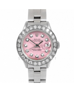 Rolex Datejust 26 6917 Stainless Steel, Custom Pink Diamond Dial, 2ct Diamond Bezel On An Oyster Bracelet - Ladies Pre-Owned Watch