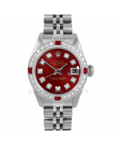 Rolex Datejust 26 6917 Stainless Steel, Custom Red Diamond, Diamond & Ruby Bezel On A Jubilee Bracelet - Ladies Pre-Owned Watch