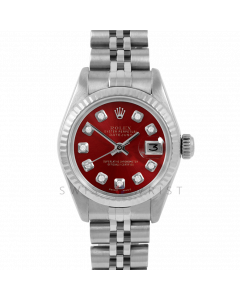 Rolex Datejust 26 6917 White Gold & Stainless Steel, Custom Red Diamond, Fluted Bezel On A Jubilee Bracelet - Ladies Pre-Owned Watch