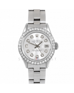 Rolex Datejust 26 6917 Stainless Steel, Custom Silver Diamond Dial, 1ct Diamond Bezel On An Oyster Bracelet - Ladies Pre-Owned Watch