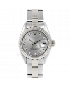 Rolex Datejust 6917 Factory Silver Diamond Dial - Stainless Steel - White Gold Fluted Bezel On A Oyster Band - Pre-Owned