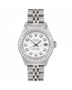 Rolex Datejust 6917 Custom White Diamond Dial - Stainless Steel - 1CT VS Diamond Bezel On A Jubilee Band - Pre-Owned