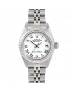 Rolex Datejust 6917 White Roman Dial - Stainless Steel - White Gold Fluted Bezel On A Jubilee Band - Pre-Owned
