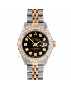 Rolex Datejust 26 6917 Yellow Gold & Stainless Steel, Custom Black Diamond, 1ct Diamond Bezel On A Jubilee Bracelet - Ladies Pre-Owned Watch