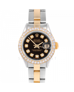 Rolex Datejust 26 6917 Yellow Gold & Stainless Steel, Custom Black Diamond, 1ct Diamond Bezel On An Oyster Bracelet - Ladies Pre-Owned Watch