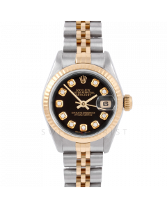 Rolex Datejust 26 6917 Yellow Gold & Stainless Steel, Custom Black Diamond, Fluted Bezel On A Jubilee Bracelet - Ladies Pre-Owned Watch