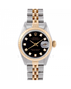 Rolex Datejust 26 6917 Yellow Gold & Stainless Steel, Factory Black Diamond, Fluted Bezel On A Jubilee Bracelet - Ladies Pre-Owned Watch