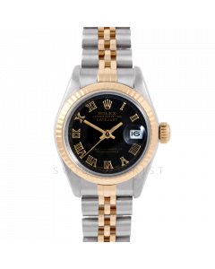 Rolex Datejust 26 6917 Yellow Gold & Stainless Steel, Black Roman, Fluted Bezel On A Jubilee Bracelet - Ladies Pre-Owned Watch