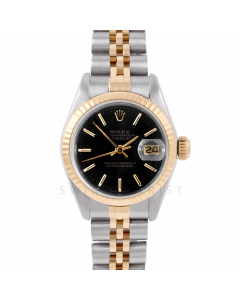 Rolex Datejust 26 6917 Yellow Gold & Stainless Stainless Steel, Black Stick, Fluted Bezel On A Jubilee Bracelet - Ladies Pre-Owned Watch