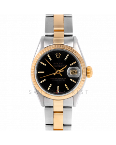 Rolex Datejust 26 6917 Yellow Gold & Stainless Steel, Black Stick, Fluted Bezel On An Oyster Bracelet - Ladies Pre-Owned Watch